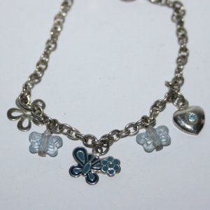 Beautiful little girls silver charm bracelet 6""
